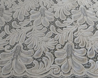 White REMNANT Lace Fabric, Heavy White Cotton Lace with Soutache Embroidery