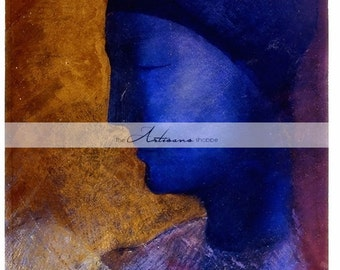 Instant Art Download - Odilon Redon La Cellule d'Or - Printable Download - Vintage Art Print - Paper Crafts Altered Art - Blue Portrait