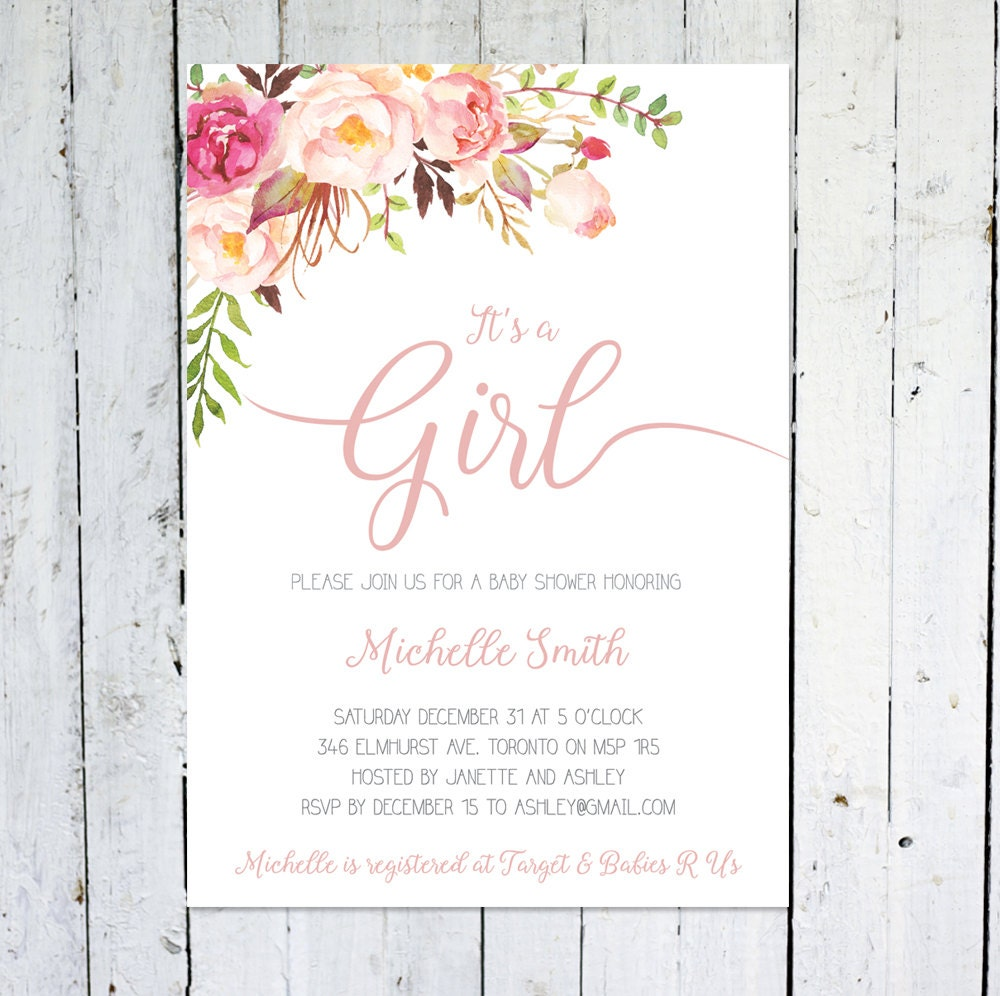 Spring Baby Shower Invitation Girl It\'s A Girl Floral