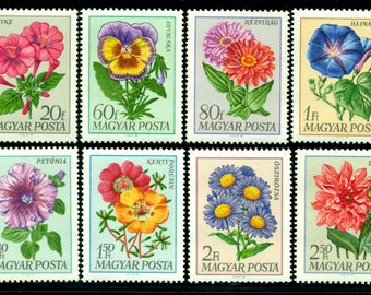 Beautiful Flower Postage from Hungary - 8 Stamps to use in Art Projects, Handmade Cards, Decoupage, Mixed Media
