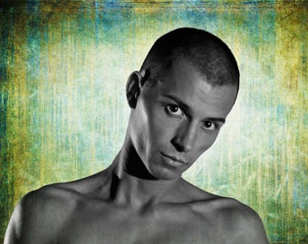 Puppy Eyes Gay Art Male Art Digital Download JPG Photo by Michael Taggart Photography shirtless headshot head shot blue green black & white