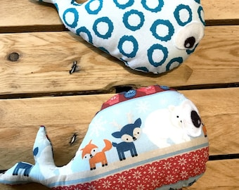 2 cute and original whales, in printed cotton