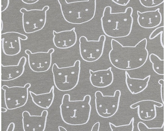 Hello in Grey by Alexia Abegg from Hello Cotton Spandex Jersey Knits by Cotton + Steel -  1/2 Yard