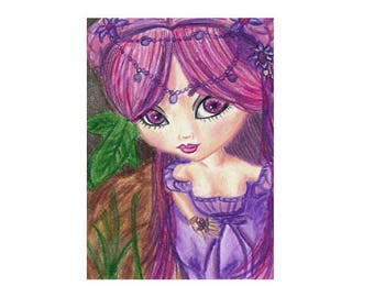 ACEO 2.5x3.5 Art Print of Original Drawing Prismacolor Colored Pencils Girl Doll Fairy Purple Big Eyes Flower Modern Contemporary