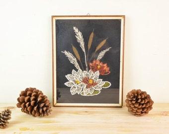 Framed Vintage Floral Embroidery