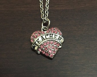 teacher gifts, teacher, gifts for teachers, teacher necklace, teacher jewelry, teachers, teacher pendant, teacher gift, pink heart necklace