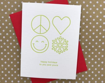 Happy Holidays to you and yours - Peace Love Happiness Holiday Christmas Card