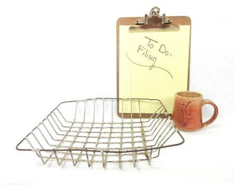 Vintage Wire Basket / File Organizer Tray / Industrial In-Box / Rustic Office