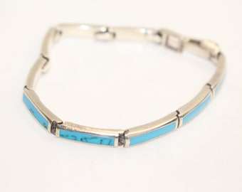 Sterling Silver 925 Silver Bracelet with Turquoise 7 inch 18cm c1990s Vintage Jewelry