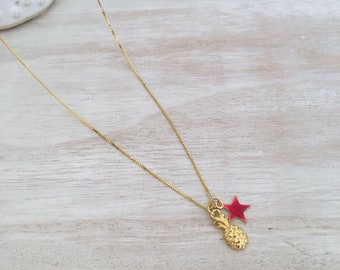 Golden Pineapple Necklace and hand-enameled starlet-925 sterling silver