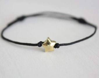 Gold Star Wish Bracelet or Anklet, Puffy Star Bracelet, Celestial Jewelry, Minimalist Gift, BFF, Best Friend, Friendship Gift, Gifts For Her
