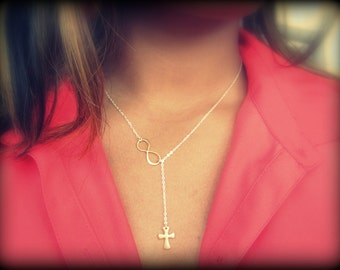 Two Tone Cross and Infinity Lariat, New Design, Two Tone Jewelry, Pinterest Necklace