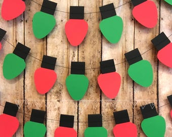 Christmas Lights Garland, Holiday Decoration Paper Garland, Red and Green Christmas Lights Strung Banner, Christmas Light Paper Garland