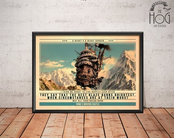 Howl's Moving Castle Poster - Quote Retro Movie Poster - Movie Print, Film Poster, Wall Art, Miyazaki Print