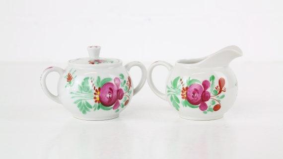 August Warnecke fries Land rose milk Jug & sugar Tin Friesland German pottery handpainted