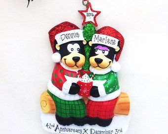 Black Bears with Hot Chocolate Ornament / Couples Ornament / Personalized Christmas Ornament /  Christmas Ornament