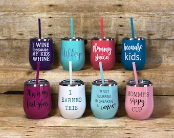 12oz Funny Quotes Stainless Steel Stemless Wine Tumbler With Lid, Colorful Stemless Wine Tumblers