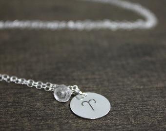 Birthstone Zodiac Necklace - April Aries - Sterling Silver - Quartz - April Birthday Gift - April Birthstone - Birthday Gift - Gift For Wife