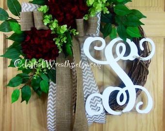 Spring  wreath - personalized wreath - summer wreath - hydrangea wreath - easter wreath - grapevine wreath
