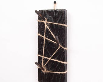 Cup hanger - Natural wood and hemp rope, 19 colors available