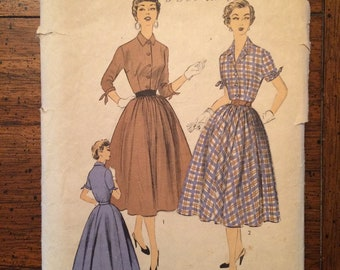 1950's Women's Button Front Full Skirt Dress Vintage Sewing Pattern Advance 6791 Bust 30 RF0075