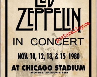 Led Zeppelin 1980 Chicago    Concert POSTER   beautiful!!!!