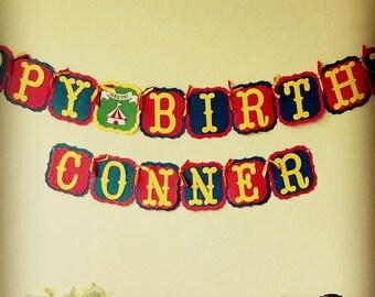 Carnival Themed Birthday Banner, Circus Birthday Banner, Happy Birthday Banner, Clown Birthday Party
