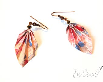 Pink Origami leaf earrings
