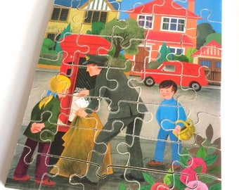 Vintage Galt Wooden Jigsaw 'People Who Work For Us - Postman'  - 35 Pieces