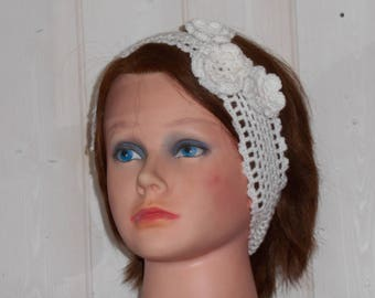 Romantic white crochet headband