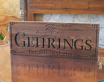 Personalized Family Sign, Home Decor Sign, Established Date, Personalized Last Name Sign, Housewarming Gift, Benchmark Signs, Walnut LL