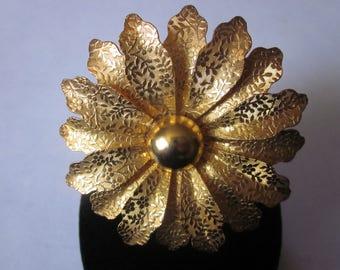 Vintage Gold Tone Flower Pin - Textured Design