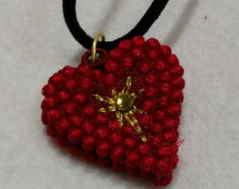 Necklace,Heart Pendant, Embroidered Freestanding Lace, your choice of color with Swarovski crystal, MADE TO ORDER,