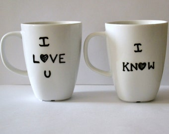 "Star Wars ""I Love You I Know"" Mug Set -  His And Hers Mugs - Wedding or Anniversary Gift - Han Solo and Leia - Dishwasher Safe 10 oz"