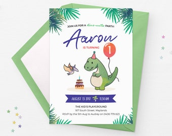 Dinosaur birthday invitations Dinosaur invitations 1st birthday invitations boy, Dinosaur party invitations First birthday invites boy party