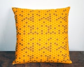 "Gold and Brown Honeycomb Geometric Accent Throw Pillow Cover 16""x16"" - Apartment Therapy Trend Pick"