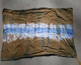 tie dye brown and blue tea towel
