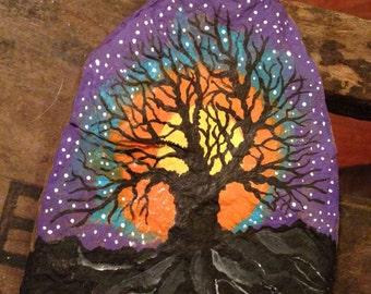 TREE of LIFE Painted Slate Rock