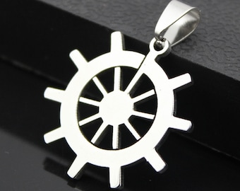 Ship wheel pendant stainless steel hypoallergenic DIY necklace pendant
