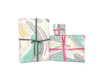 Stripes Aqua Wrapping Paper 3 Sheets (20 x 28 inches)
