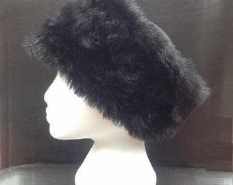 Faux Fur Ladies  Black Hand made Winter Hat.