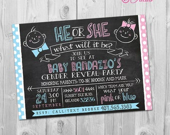 He or She Gender Reveal Invitation, Baby Gender Reveal Invitation Printable, Baby Gender Announcement Card Blue or Pink, She or He Invite