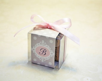 Pink and Grey Macaron Boxes, Polkadot, Pink Wedding Favor Boxes - 24 Favor Boxes