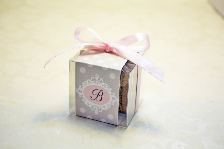 Pink and Grey Macaron Boxes, Polkadot, Pink Favor Boxes - Set of 24 ...