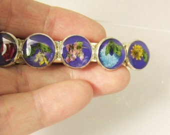 Barrette with Real Flowers on Purple, , Floral Barrette, Resin, Brass (1916)