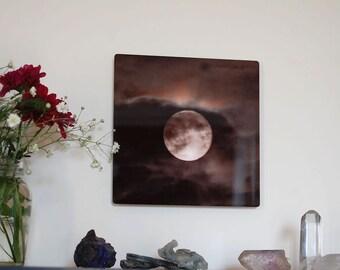 Moondancing, Metal panel, Moon Photograph on aluminum, Full Moon and clouds photo, night sky, aluminium high gloss wall art,
