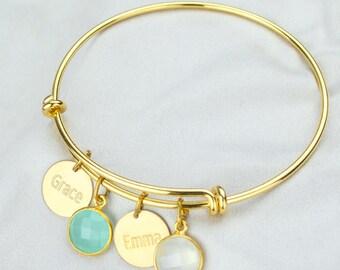 Grandma bracelet with kids names and birthstones, adjustable bracelet baby shower gift new mom bangle name bracelet Mothers day gift for mom