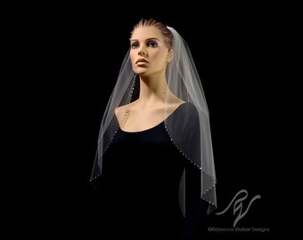 Bridal Wedding Veil with Half Inch Rhinestone Edge, Made With SWAROVSKI ELEMENTS