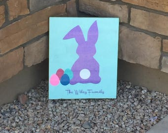 Easter Bunny sign, wood sign, bunny, glitter