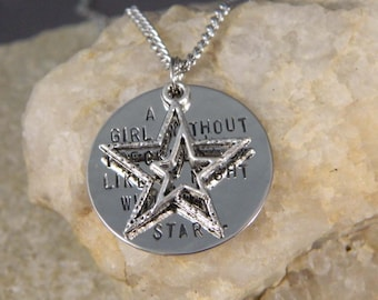 A girl without Freckles is like a Night without Stars Handstamped Necklace w/Double Star